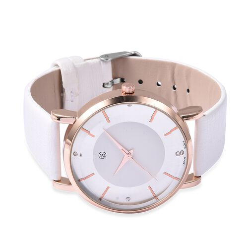STRADA Japanese Movement Water Resistance White Austrian Crystal Studded Watch in Rose Gold Plated - White