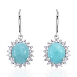 10.75 Ct Peruvian Amazonite and Cambodian Zircon Halo Earrings in Platinum Plated Sterling Silver 4.