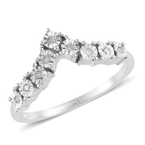 Diamond Platinum Overlay Sterling Silver Ring  0.105  Ct.
