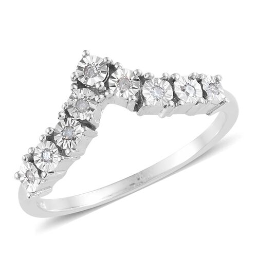 Diamond Platinum Overlay Sterling Silver Ring  0.105  Ct.