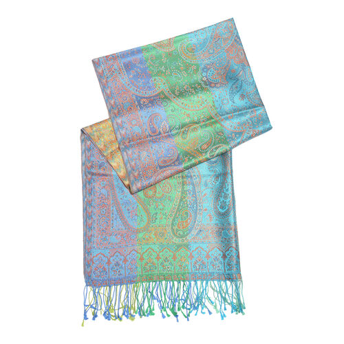 SILK MARK- 100% Superfine Silk Green, Blue and Multi Colour Jacquard Jamawar Scarf with Fringes (Size 190x70 Cm)