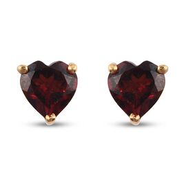 Red Garnet Earring in 14K Gold Overlay Sterling Silver 1.11 ct  1.105  Ct.