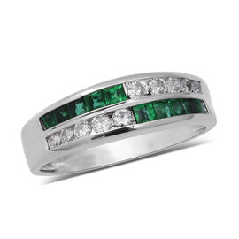 Signature Collection 0.52 Ct AAAA Boyaca Colombian Emerald and Diamond SI GH Half Eternity Ring in 9