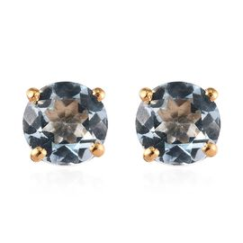 Sky Blue Topaz (Rnd) Stud Earrings (with Push Back) in 14K Gold Overlay Sterling Silver 2.00 Ct.