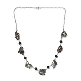 Artisan Crafted : Meteorite and Shungite Necklace (Size 20) in Sterling Silver 145.00 Ct, Silver wt.