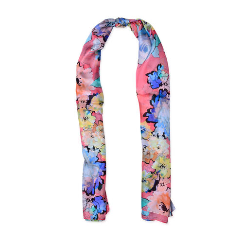 100% Mulberry Silk Blue, Pink and Multi Colour Floral Pattern Scarf (Size 170x110 Cm)