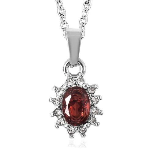3 Piece Set - Mozambique Garnet and White Austrian Crystal Ring, Earrings (with Push Back) & Pendant with Chain (Size 20) in Stainless Steel 4.50 Ct.