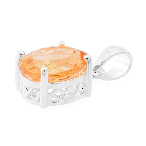 Citrine (Ovl) Solitaire Pendant in Sterling Silver 4.000 Ct.