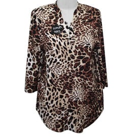 SUGAR CRISP Supersoft Animal Print Top/Tunic (Size 14) - Black and Brown