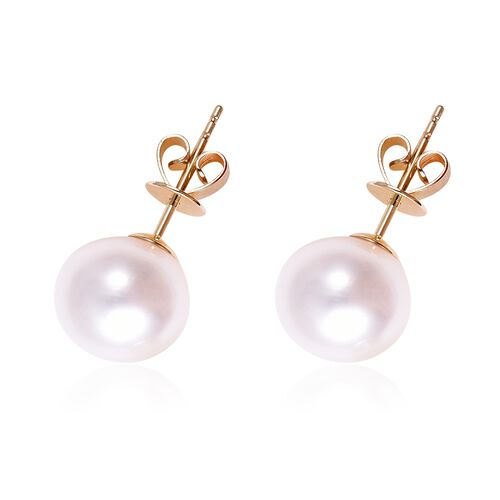 9K Yellow Gold AA Freshwater Pearl (Rnd) Stud Earrings (with Push Back)