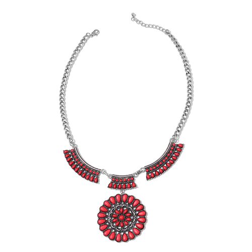 Designer Inspired - Red Howlite  Necklace (Size 20 with 2 Inch Extender) in Silver Tone 100.000 Ct.