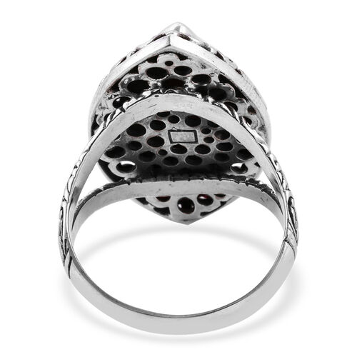 Royal Bali Collection Sponge Coral (20x10 mm) Floral Ring in Sterling Silver, Silver wt 7.75 Gms.