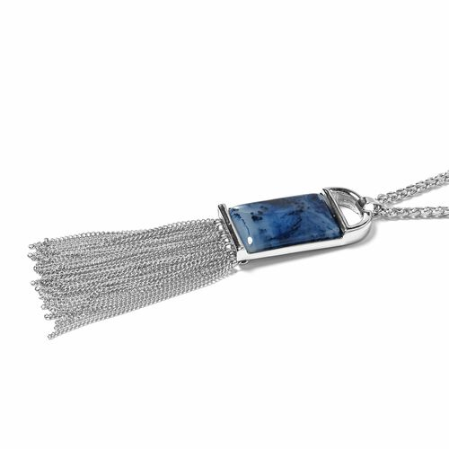 Designer Inspired- Simulated London Blue Topaz (Rectangle) Pendant With Chain (Size 30 with 2 inch Extender) with Tassels in Silver Plated