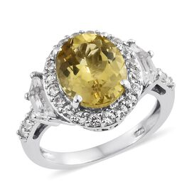 5.50 Ct Madagascar Yellow Apatite and White Topaz Halo Ring in Platinum Plated Silver