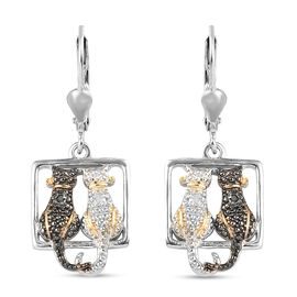 Black and White Diamond (Rnd) Twin Cat Lever Back Earrings in Platinum Overlay Sterling Silver with