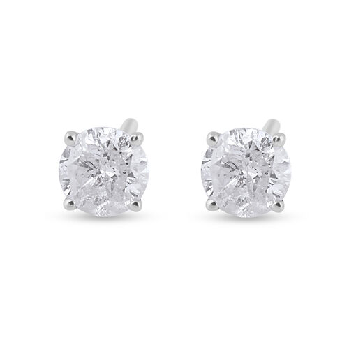 New York Close Out Deal 0.50 Ct Diamond Stud Solitaire Earrings in 14K White Gold I1 I2 GH