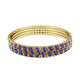 4 Piece Set Gold and Blue Austrian Crystal Stacker Bangle in Gold Tone 7.5 Inch
