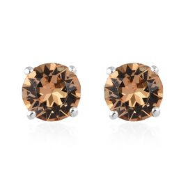 J Francis - Crystal from Swarovski Champagne Crystal (Rnd) Stud Earrings (with Push Back) in Sterlin