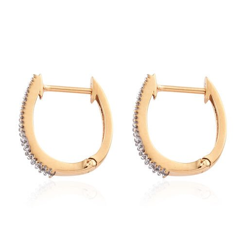 Diamond (Bgt) Hoop Earrings (with Clasp Lock) in 14K Gold Overlay Sterling Silver 0.500 Ct.
