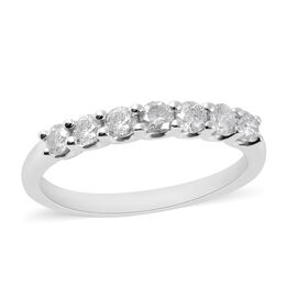 0.50 Ct Diamond Half Eternity Band Ring in 9K White Gold 1.90 Grams SGL Certified I3 GH