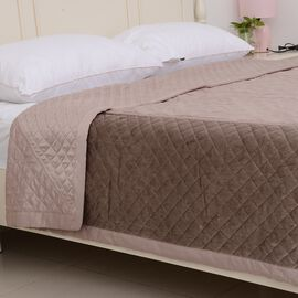 Premium Collection-Patchwork Matt Satin  Quilt with Embroidery Micro Mink Border in Taupe Colour (Ki