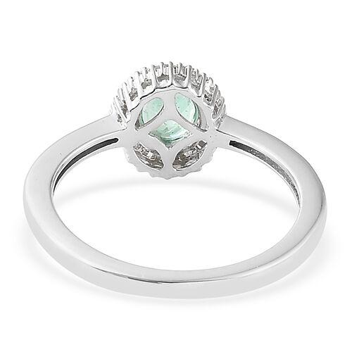 9K White Gold AA Boyaca Colombian Emerald (Ovl), Diamond Ring 0.750 Ct.