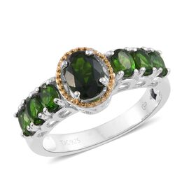 GP 2.25 Ct Russian Diopside and Blue Sapphire Classic Ring in Platinum and Gold Plated Silver