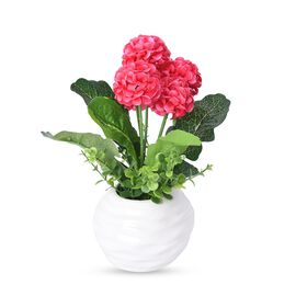 Home Decor - Artificial Real Touch Ball Chrysanthemum Flower with White Ceramic Vase (Size 21x8 Cm)