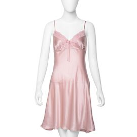 100% Mulberry Silk Chemise with Lace in Powder Pink Colour - Size L