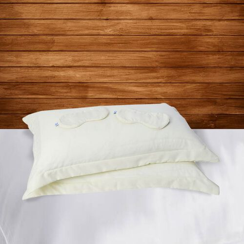 Serenity Night 4 Piece Set, 2 Copper Infused Oxford Style Pillowcases and 2 Copper infused Eye Masks - Cream