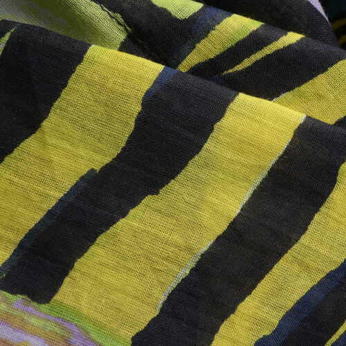 Yellow, Black and Multi Colour Abstract Printed Kaftan (Free Size)