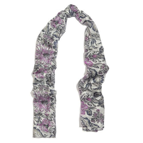 100% Mulberry Silk Light Grey, Pink and Multi Colour Flower and Leaves Printed Scarf (Size 180x100 Cm)