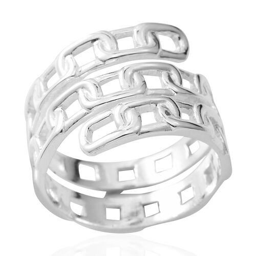 Designer Inspired-Sterling Silver Chain Ring, Silver Wt 5.90 Gms