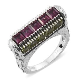 GP Multi Gem Stone Platinum Overlay Sterling Silver Ring  8.000  Ct.