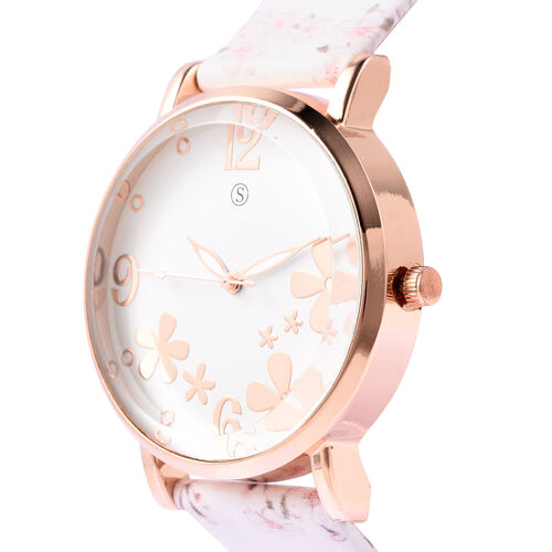 STRADA Japanese Movement Water Resistant Floral Motif Adorned Watch - White