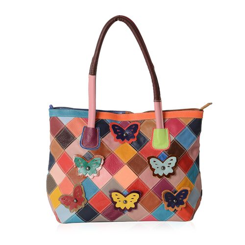 Morocco Collection100% Genuine Leather Multi Colour 3D Butterfly Adorned Tote Bag (Size 33.5x28x12 C