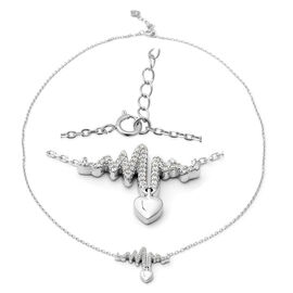 ELANZA Simulated Diamond (Rnd) Adjustable Necklace (Size 17.25 with 1 inch Extender) in Rhodium Over