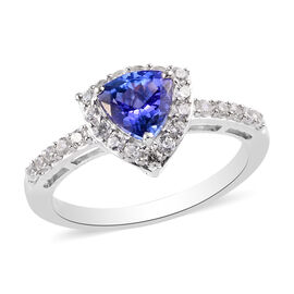 Premium Tanzanite and Natural Cambodian Zircon Ring in Platinum Overlay Sterling Silver 1.25 Ct.