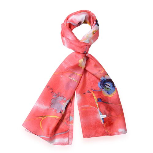 100%  Mulberry Silk Red and Multi Colour Floral Pattern Scarf (Size 175x53 Cm)
