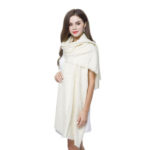 Italian Close Out Deal - White Colour Scarf with Fringes (Size 200X70 Cm)