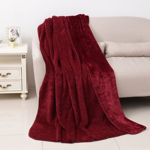 High-Quality Flannel Sherpa Bonded Blanket (Size 200x150 Cm) Red Colour