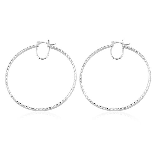 Close Out Deal - Diamond Cut High Polished Silver Plating Sterling Silver Earrings (with Clasp Lock), Silver wt 11.57 Gms.