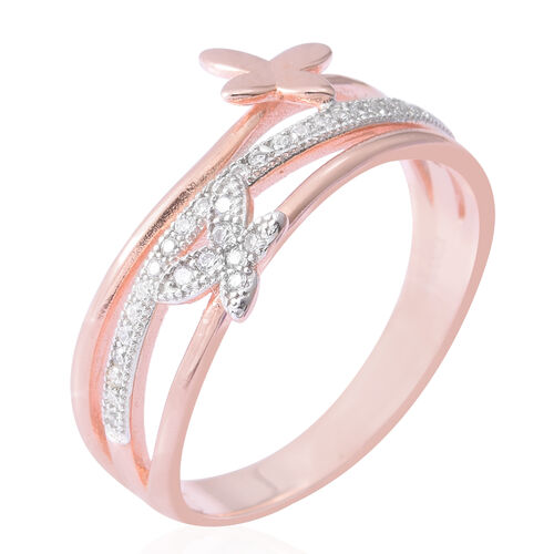 ELANZA Simulated Diamond (Rnd) Butterfly Ring in Rhodium and Rose Gold Overlay Sterling Silver