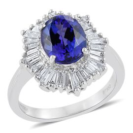 RHAPSODY 950 Platinum AAAA Tanzanite (Ovl 2.20 Ct), Diamond (VS/E-F) Ballerina Ring 3.000 Ct.