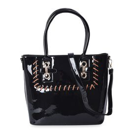 Black Colour Tote Bag with Detachable Shoulder Strap and External Zipper Pocket (Size 39x29.5x13 Cm)