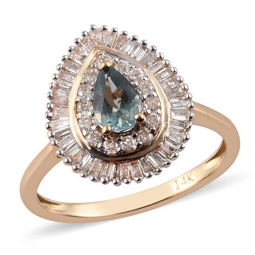 1 Carat Narsipatnam Alexandrite and Diamond Halo Ring in 14K Yellow Gold