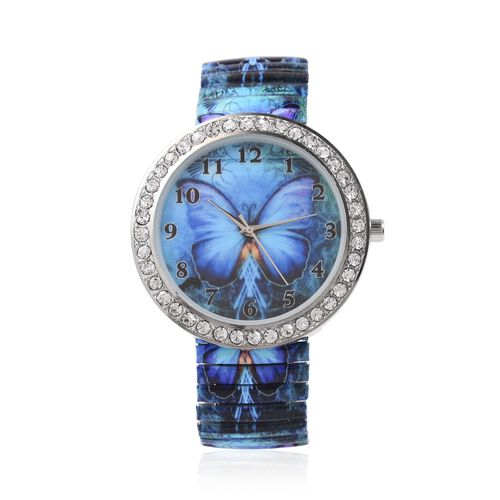 Set of 2 STRADA Japanese Movement White Austrian Crystal Studded Butterfly Wings Pattern Watch with Blue Colour Pen