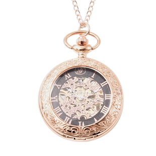 GENOA Automatic Mechanical Skeleton Pocket Watch with Chain (Size 31.5) in Rose Gold Tone