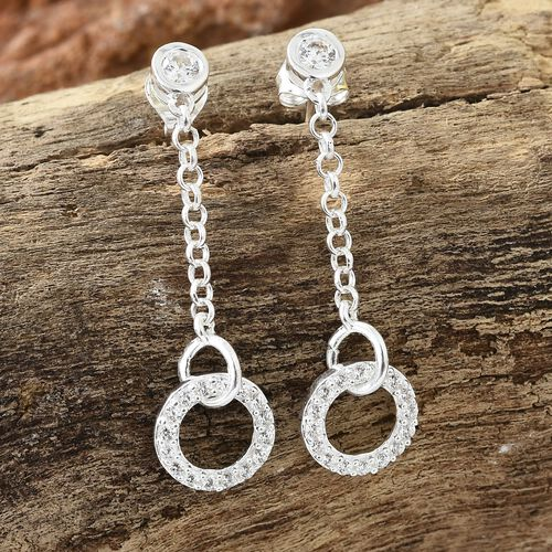 J Francis - Sterling Silver (Rnd) Dangle Earrings (with Push Back) Made with SWAROVSKI ZIRCONIA