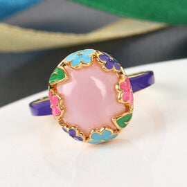 GP Italian Garden Leaf and Flower - Pink Opal and Blue Sapphire Enamelled Ring in 14K Gold Overlay Sterling Silver 3.27 Ct.
